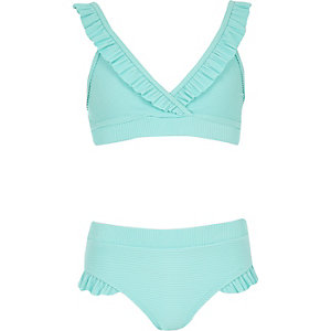 Girls blue rib frill tankini
