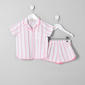 Pyjama rayé rose pour mini fille