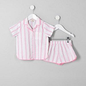 Mini - Roze pyjamaset met strepen voor meisjes