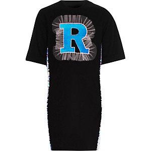 Zwarte T-shirtjurk met 'R' in lovertjes voor meisjes
