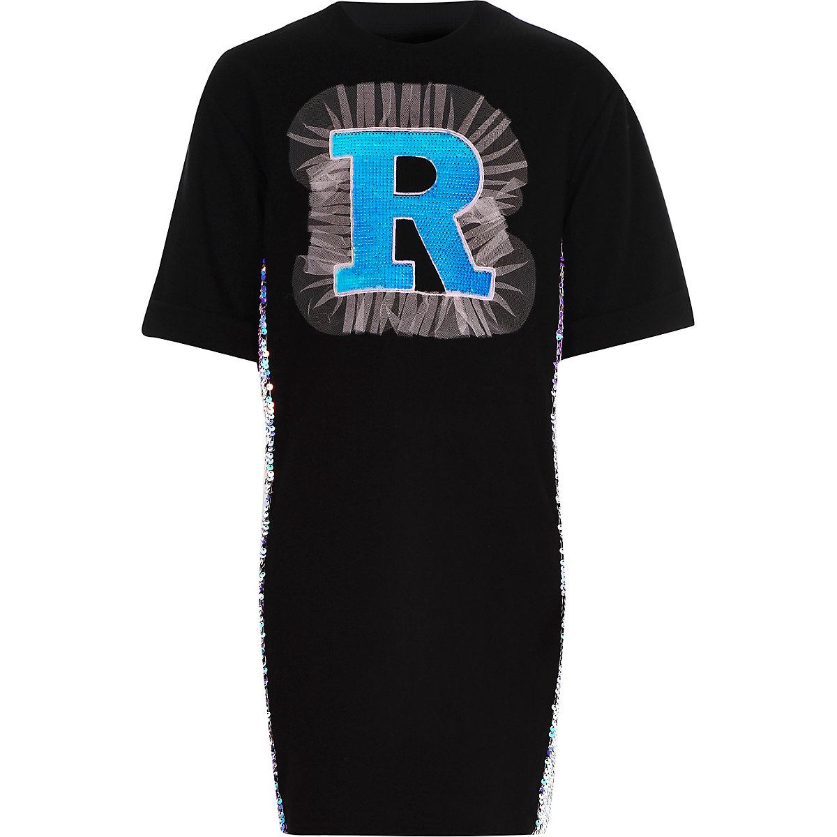 Girls black 'R' sequin T-shirt dress