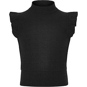 Girls black frill sleeve high neck top