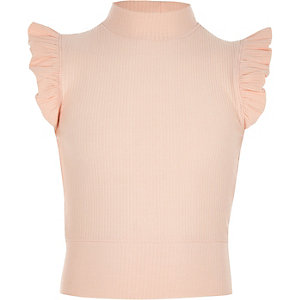 Girls peach frill sleeve high neck top