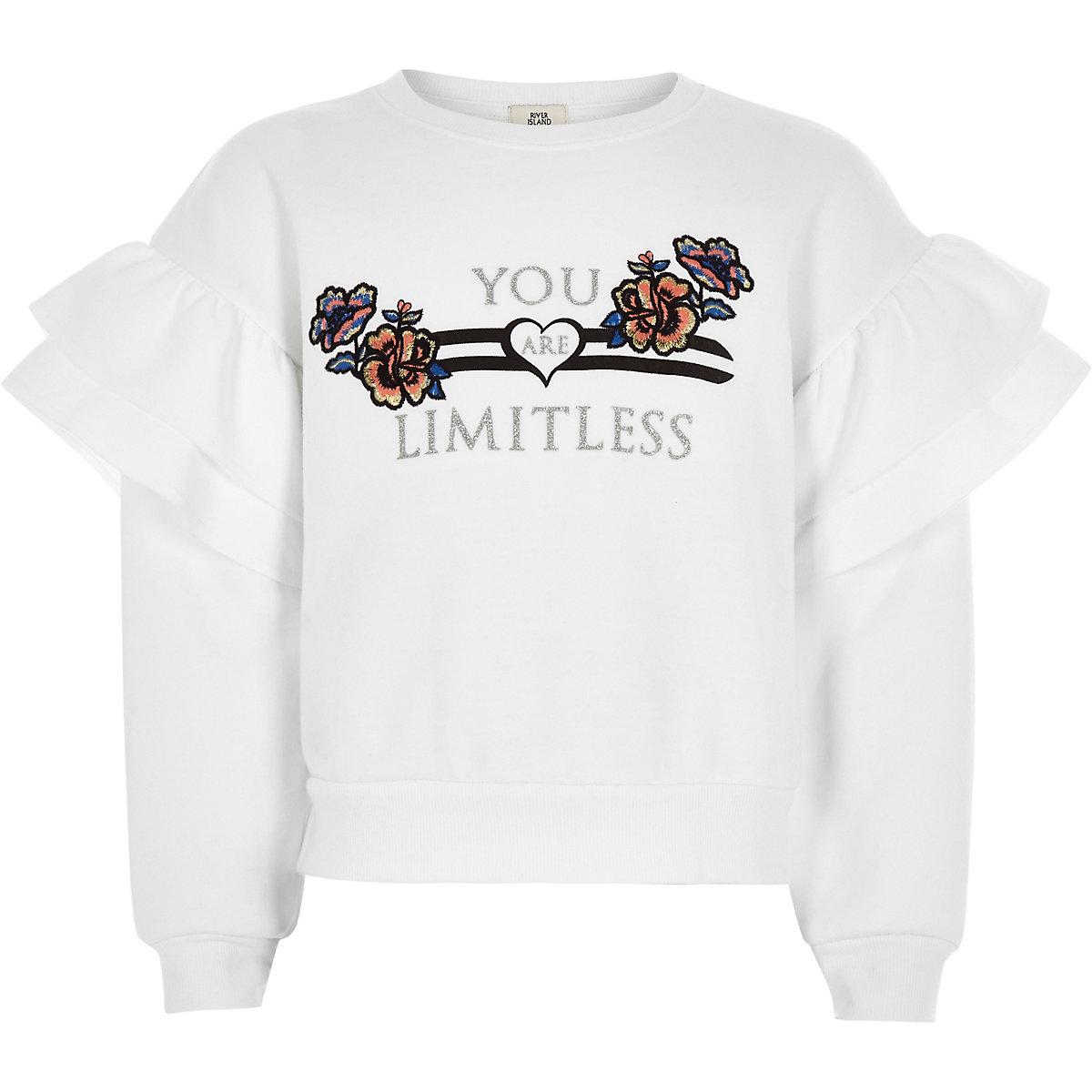 Girls white 'Limitless' frill sweatshirt