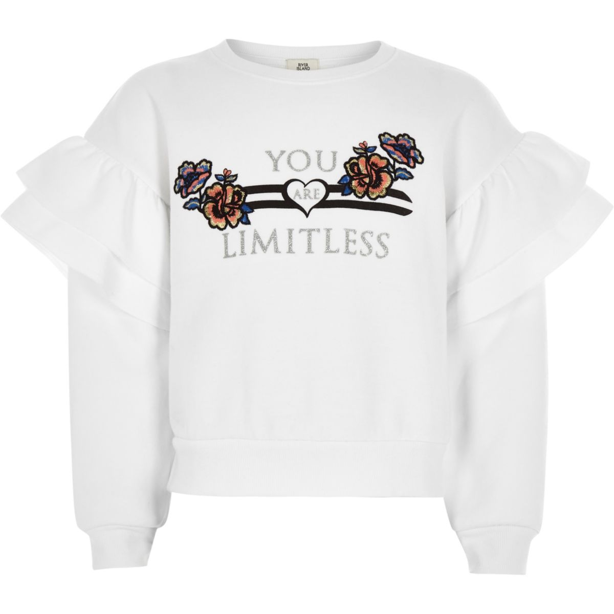 Girls white 'Limitless' frill sweatshirt
