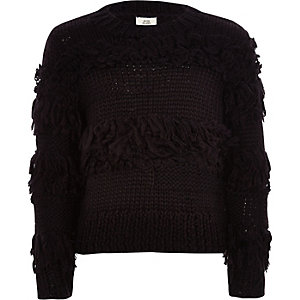 Girls black fringe trim hand knitted sweater