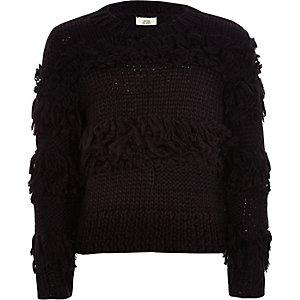 Pull noir tricoté main à bordure à franges pour fille