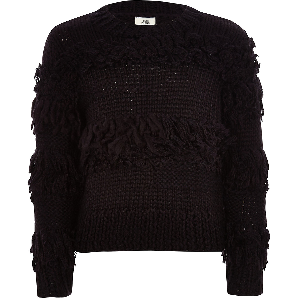 Girls black fringe trim hand knitted sweater