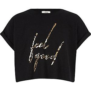 Girls black 'feel good' leopard crop top