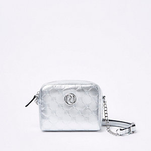 Girls silver tone RI cross body bag