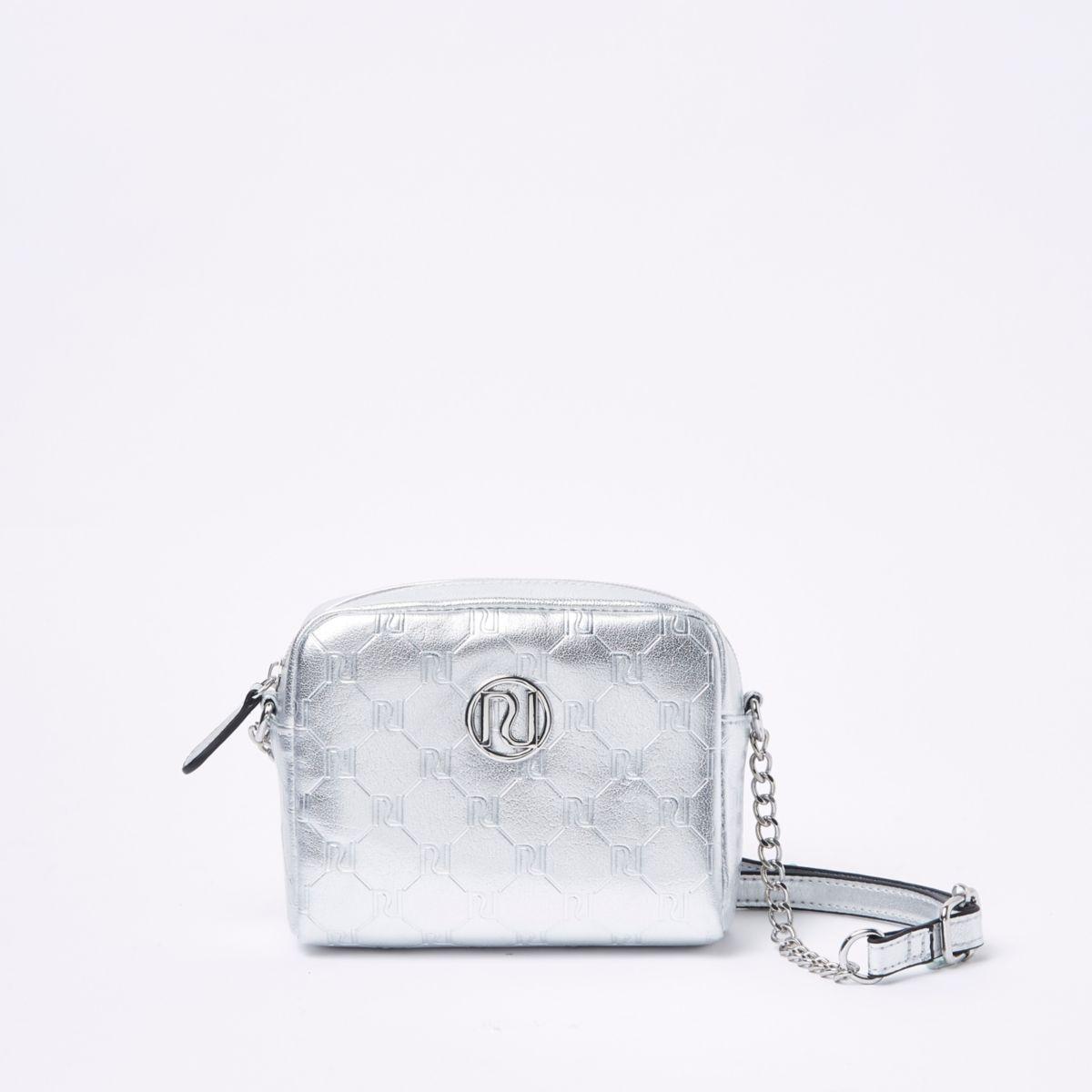 Girls silver tone RI cross body bag