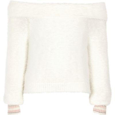 Girls Cream Bardot Fluffy Knit Tipped Jumper by River Island