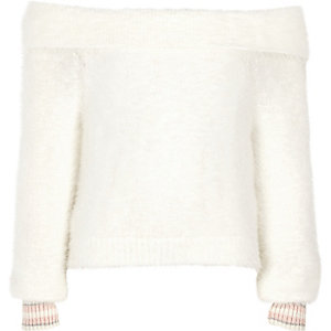 Girls cream bardot fluffy knit tipped jumper