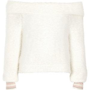 Crème wollig gebreide pullover in bardotstijl met contrasterende randje voor meisjes