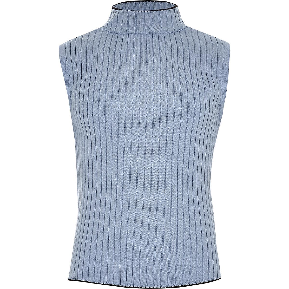 Girls blue rib turtle neck tank top
