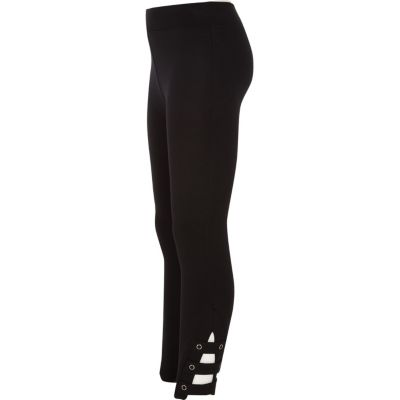 Girls Black Ponte Ankle Tab Leggings by River Island