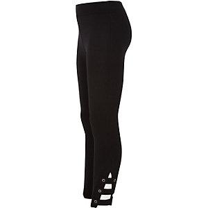 Schwarze Leggings mit Schlaufendetail am Knöchel