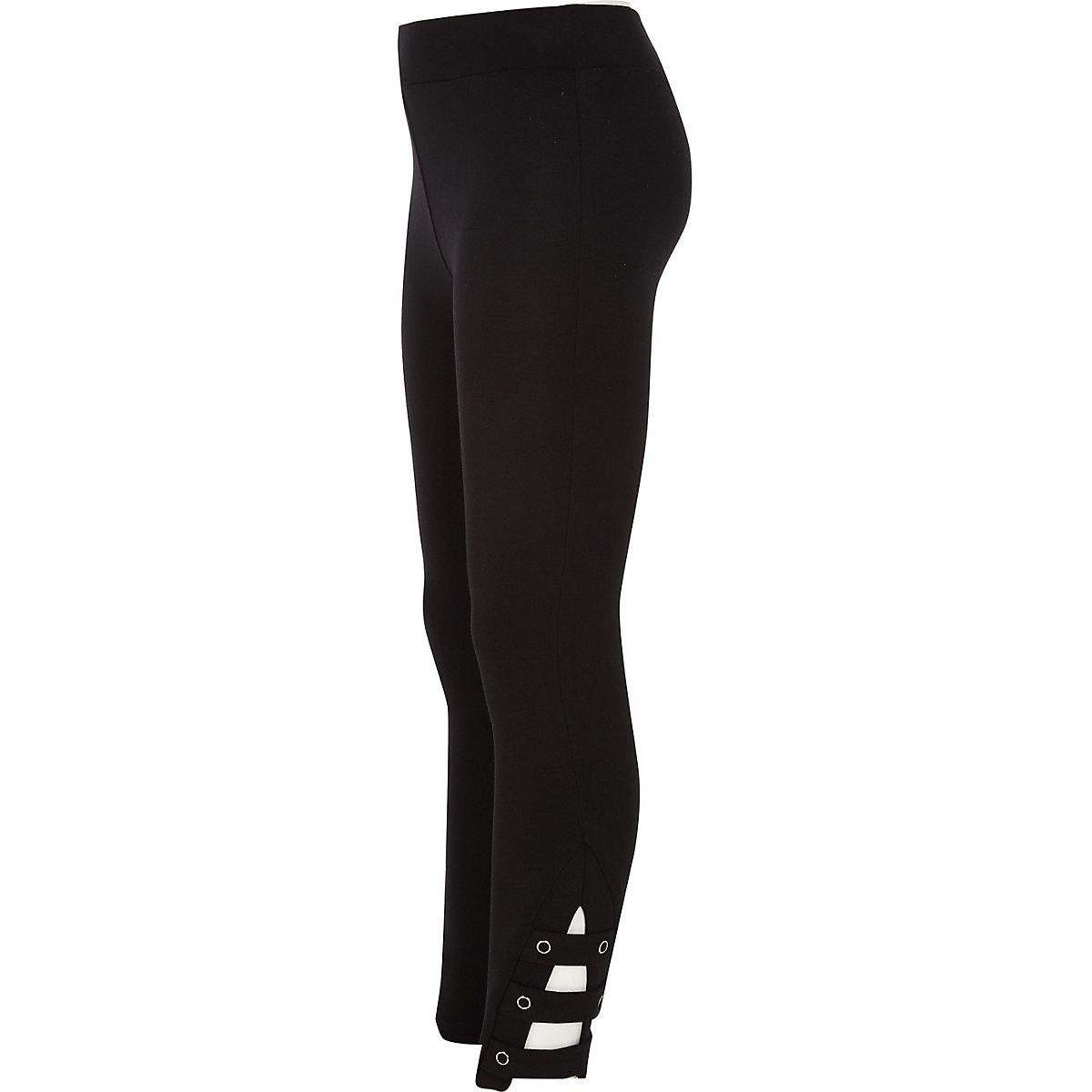 Girls black ponte ankle tab leggings