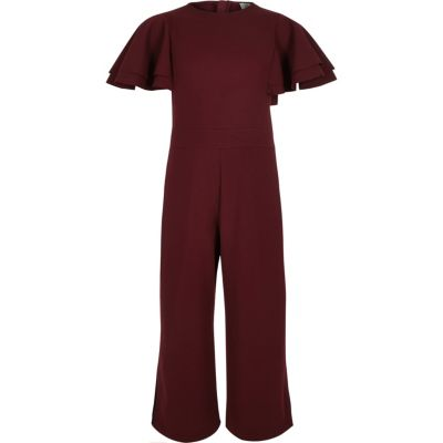 Girls Burgundy Frill Sleeve Culotte Jumpsuit by River Island
