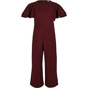 Combinaison jupe-culotte bordeaux à volants aux manches pour fille
