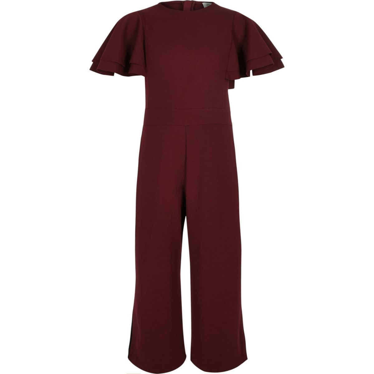 Girls burgundy frill sleeve culotte jumpsuit