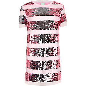 Girls pink sequin T-shirt dress