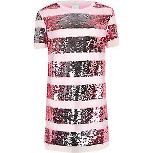 Roze T-shirtjurk met pailletten voor meisjes