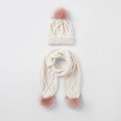 Ensemble écharpe et bonnet crème à perles pour fille - Chapeaux -  Accessoires - Fille 91e7d1afeac