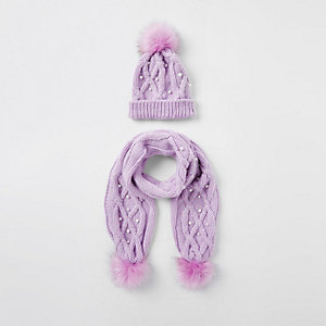 Girls purple pearl beanie hat and scarf set