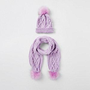 Set paarse beanies met imitatiebont en pareltjes voor meisjes