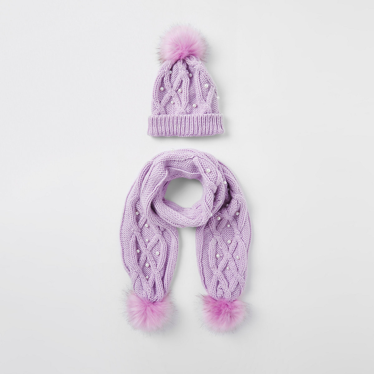 Girls purple pearl faux fur beanie hat set