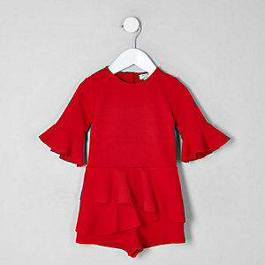 Mini girls red frill long sleeve playsuit