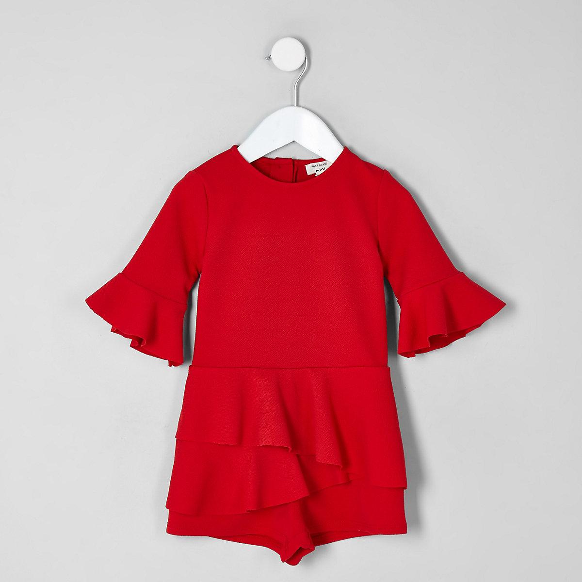 Mini girls red frill long sleeve romper