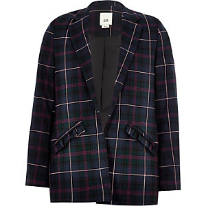 Girls navy check frill pocket blazer