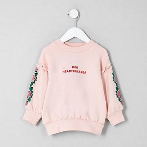 Mini - Roze sweatshirt met 'heart breaker'-print voor meisjes