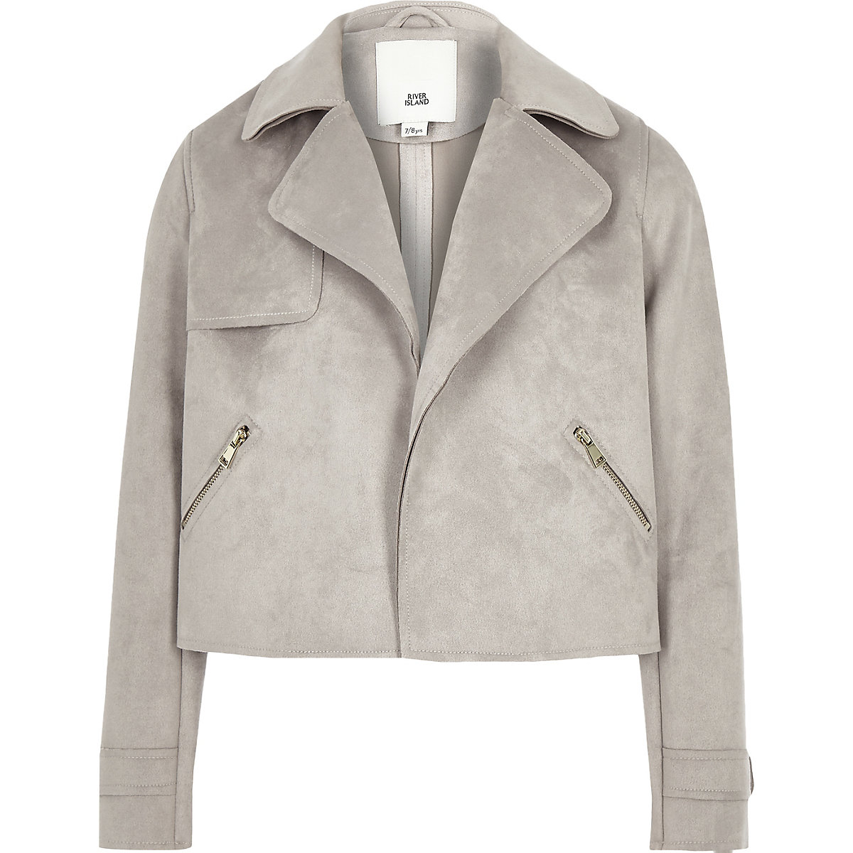 Girls grey faux suede trench jacket