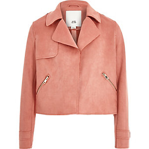 Girls pink faux suede trench jacket