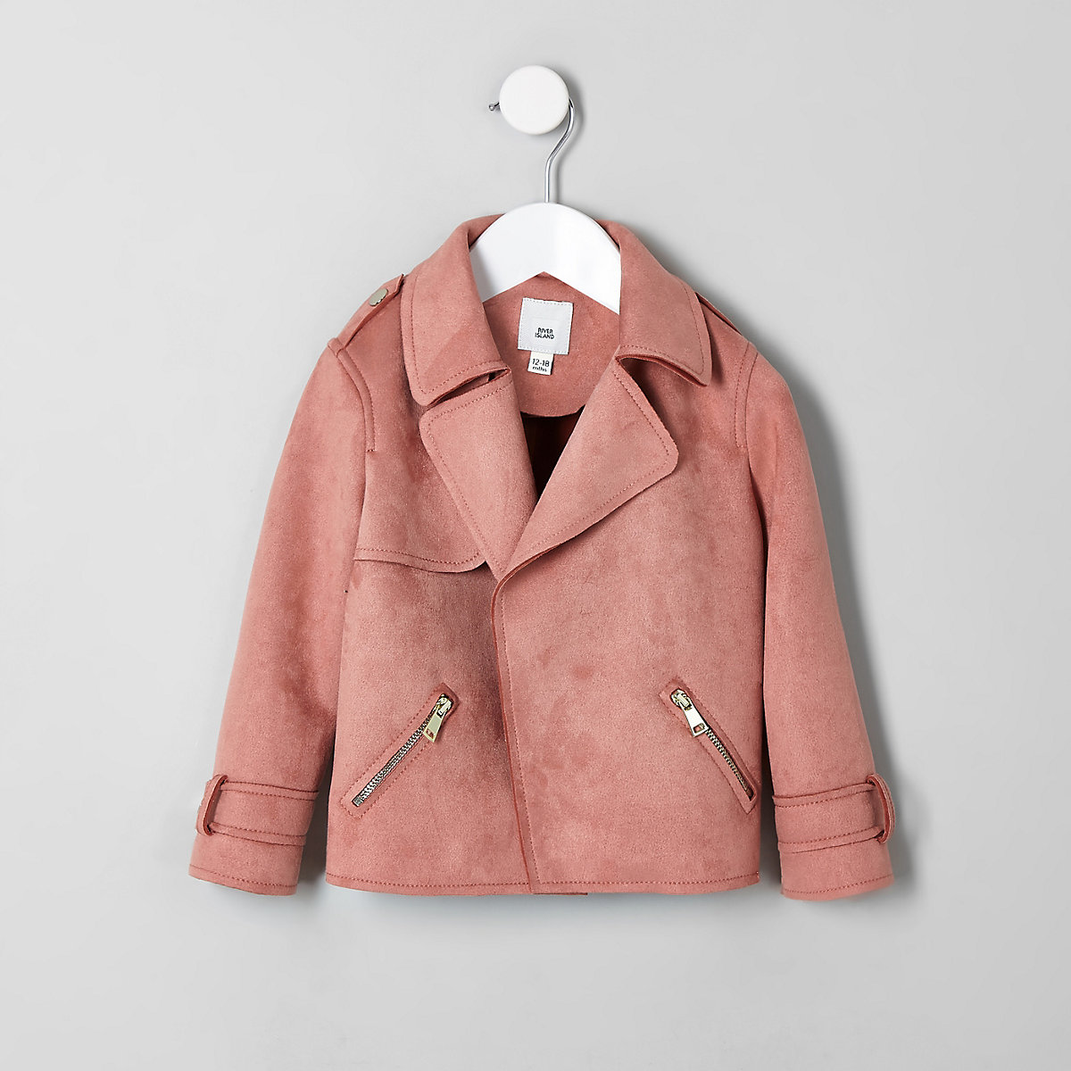 Mini girls pink faux suede trench jacket