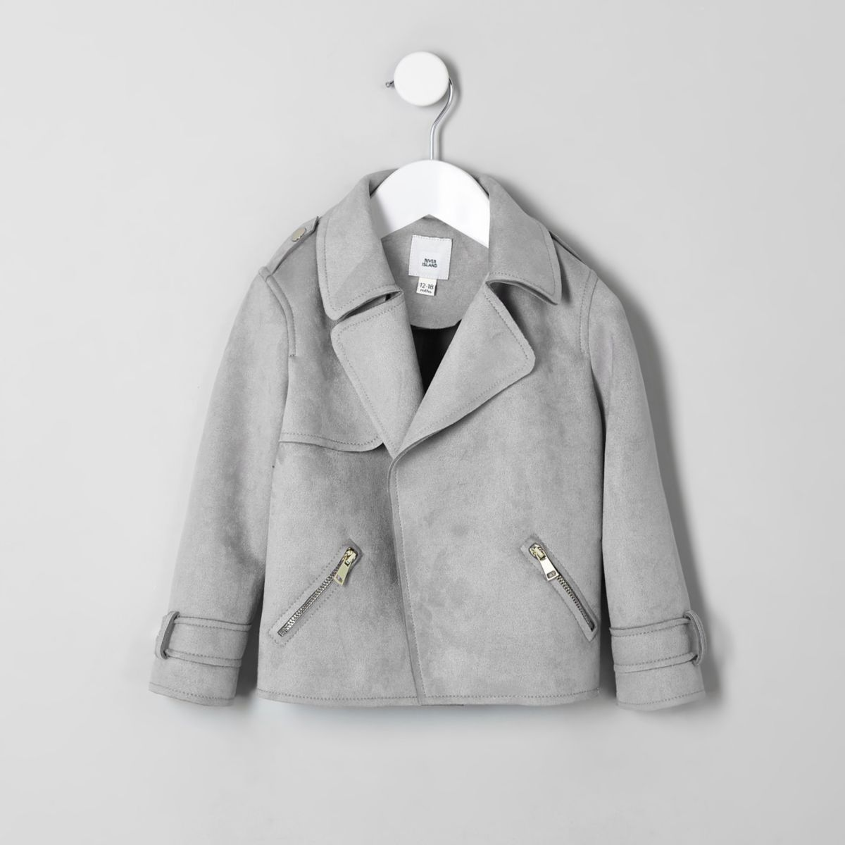 Mini girls grey faux suede trench jacket