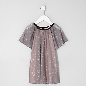 Mini girls grey dotty mesh dress