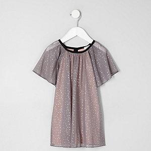 Mini - Grijze jurk van mesh met stippen voor meisjes