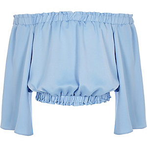 Girls blue frill bardot crop top