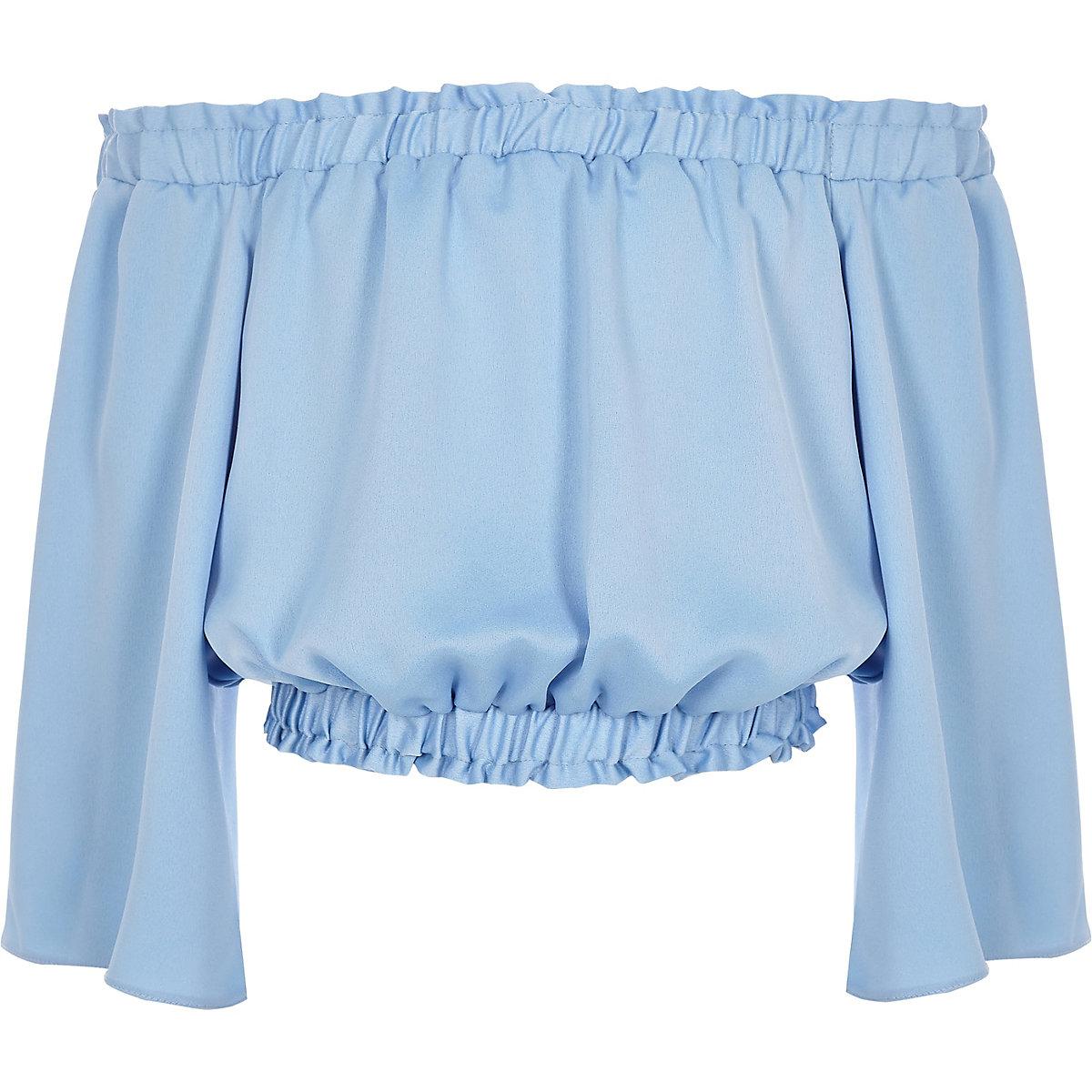 Girls blue frill bardot crop top
