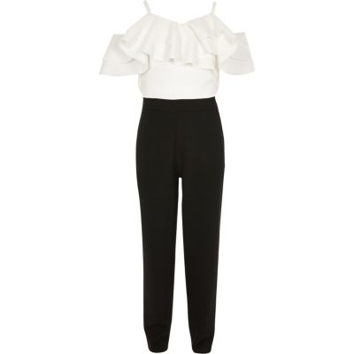 Girls White And Black Frill Bardot Jumpsuit by River Island