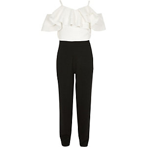 White and black frill bardot jumpsuit
