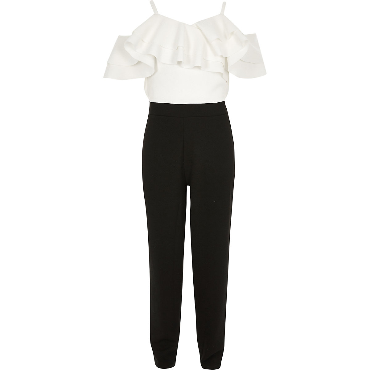 Girls white and black frill bardot jumpsuit