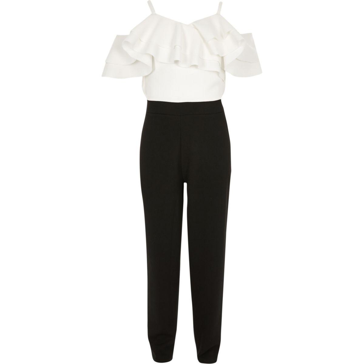 White and black frill bardot jumpsuit