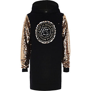 Girls black sequin hoodie dress