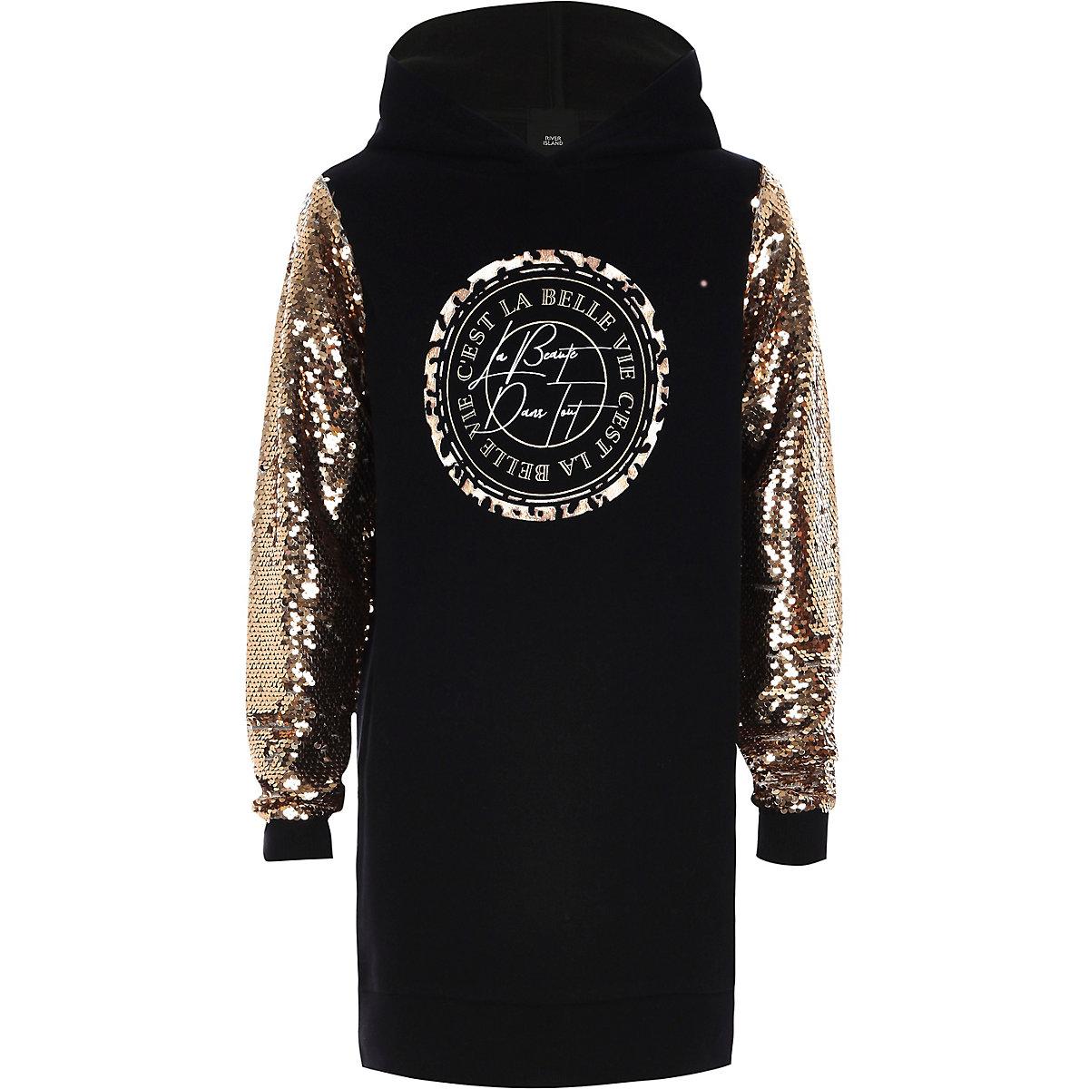 Girls black sequin hoodie dress