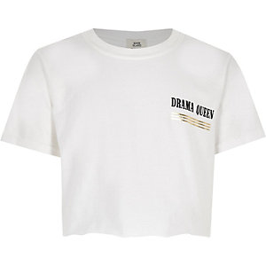 Girls white 'Drama queen' T-shirt
